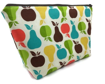 Extra Large Cosmetic Bag Toiletry Bag Travel Bag Makeup Bag in Apples and Pears