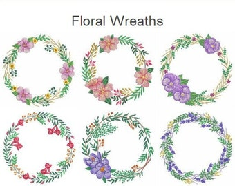 Floral Wreaths Machine Embroidery Designs Instant Download 4x4 5x5 6x6 hoop 10 designs APE2346