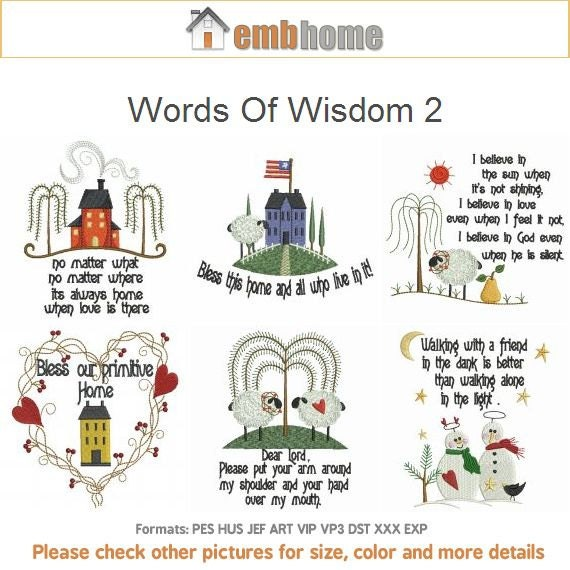 Words of wisdom machine embroidery designs instant download