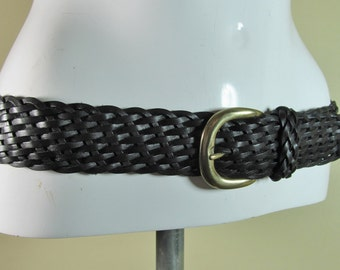 Vintage black plaited weave hippie boho chic leather fashion belt Small to Medium R14551