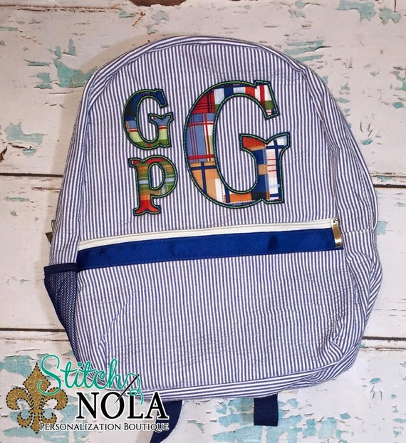 Seersucker Backpack with  Madras Plaid Stacked Monogram Applique, Seersucker Diaper Bag, Seersucker School Bag, Seersucker Bag, Diaper Bag,