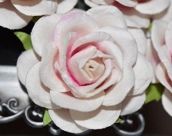 Handmade Paper/Parchment Roses - Ice Pink - 25 roses per bag-NEW STYLE