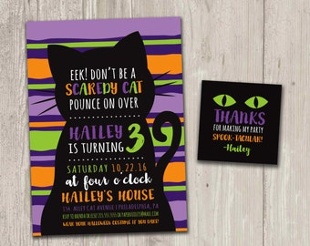 Halloween Birthday Invitation, Scaredy Cat, Black Cat Birthday, Kitty Birthday Party with FREE matching favor tag | Digital File
