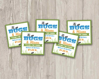 Bugs and Hisses Favor Tags, We're Buggin' Out Birthday Party favor tags   Printable
