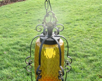 Vintage Amber Pendant Light Lamp Chandelier Bubbled Glass Wrought Iron