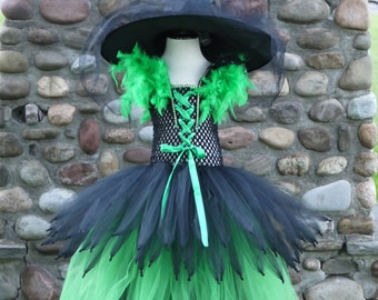 Wicked Witch costume, witch tutu dress,hocus pocus dress, black and green emerald witch costume tutu dress,witch feather dress, Oz witch