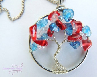 Red White and Blue Clear Quartz Glass Tree of Life Pendant