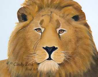 Lion Face, Giclee Print From Original Acrylic Painting, Various Sizes
