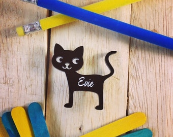 Cute Cat Brooch - can be personalised with name - black cat - tabby cat - cat lover - kitty brooch, pin, badge