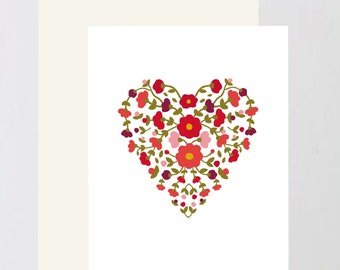 Valentine Flower heart Greeting Card