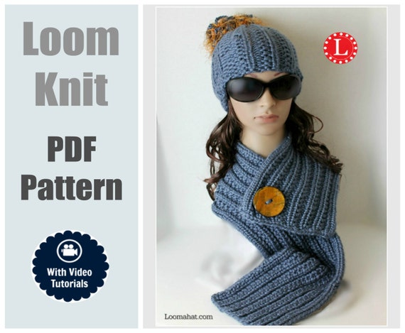 Loom Knit Hat & Scarf PATTERNS Farrow Rib Stitch Set by LoomaHat