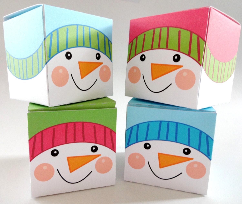christmas box template printable snowman by lilcubbyprintables