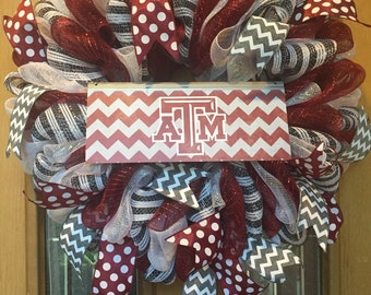 Items Similar To Texas A Amp M Football Mesh Wreath With Logo