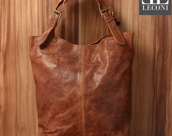 LECONI-LAN bag of shopper bag leather bag lady bag soft leather vintage look Brown LE0033-wax