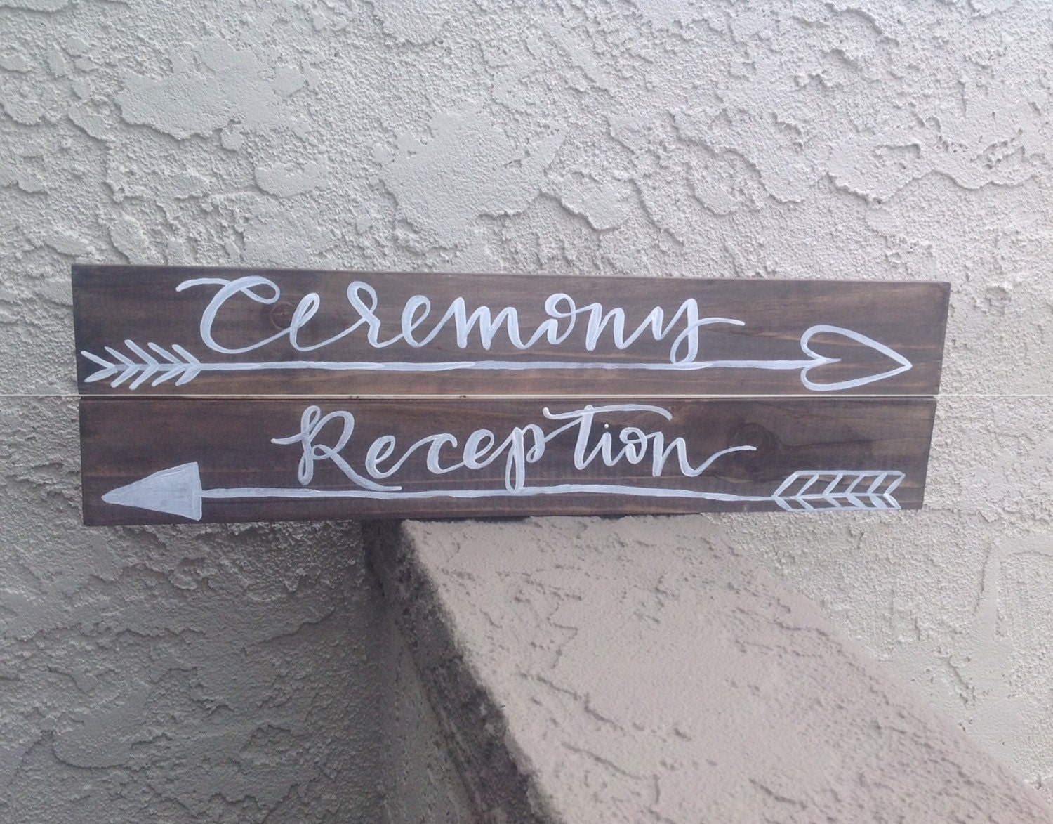 Handlettered Wooden Wedding Ceremony Reception And Hashtag