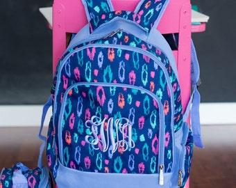 Monogrammed Laney Leopard Backpack