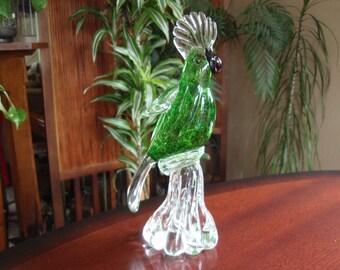 Exotic Bird Statue Figure Solid Glass Art Parrot Home D Cor Glass Art Sculptures And Figurines A2401
