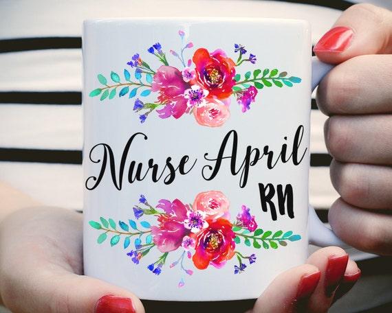 Nurse RN Mug, Custom RN Mug, Gifts For Nurse, Nurse Grad, Nurse Coffee Mug, Nurse, Nurse Graduation Gift, Floral Watercolor, Name Nurse Mug