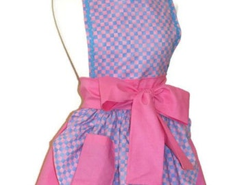 Pin Up Apron Cute Retro 50s Pinup  Pink and Blue Checked Checkers Checkered Apron with Pocket Car Hop Waitress Soda Shop Womens Medium M