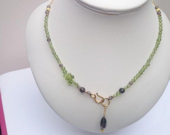 Peridot And Smokey Quartz Drop Necklace