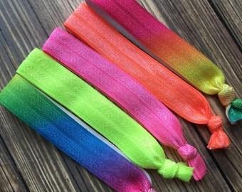 SALE! Neon Rainbow Elastic Hair Ties, Women's Elastic Hair Ties, Set of Five, Gift Idea