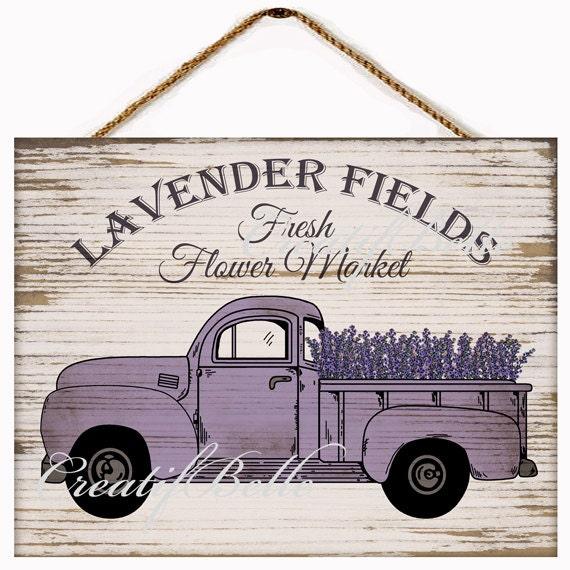 Vintage Lavender Fresh Flower Market Truck On Wood Large