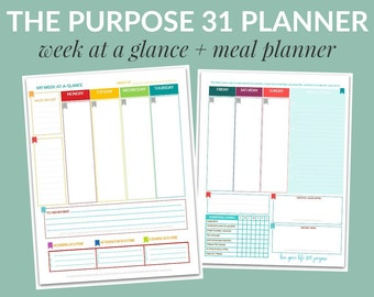 PDF: The Purpose 31 Week-at-a-Glance w/ Meal Planner | Life Planner | 190 pages