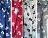 Squirrel Print Scarf in Red Blue Grey Cream Summer Animal Womens Fashion Scarves