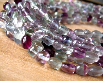 Natural Fluorite Bead Freeform Rainbow Fluorite Beads Necklace A200