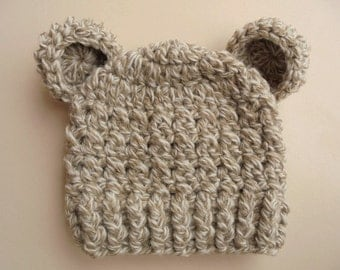 Baby bear hat Wool baby hat Baby boy hat Newborn bear hat Winter baby hat Crochet baby hat Baby animal hat Baby hat with ears Beige bear hat