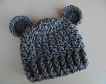 Gray bear hat, newborn bear hat, wool bear hat, baby boy hat, teddy bear baby hat. animal baby hat, baby hat with ears, bear baby hat