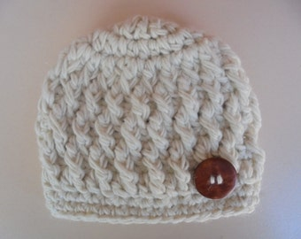 Wool baby hat, newborn hat, winter baby hat, cream baby hat, newborn outfit, button baby hat, baby boy beanie, baby hat, newborn crochet hat