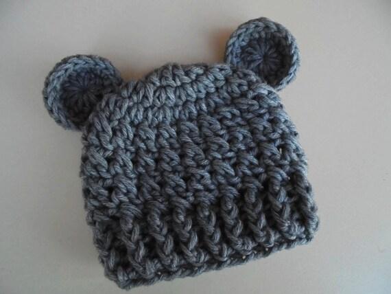 Gray Bear Hat Newborn Bear Hat Baby Boy Hat Teddy Bear Baby