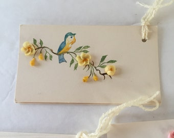 Set of 7 Vintage Handmade Cards/ Tags with Seashells As Flowers