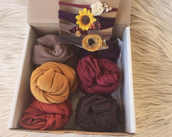 Newborn fall wrap box, layering pieces, viphotographer box, tie backs, jersey knit, gender neutral, twin wraps
