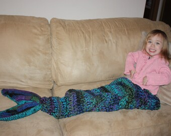 Blue Mermaid Tail Blanket - Purple Mermaid Tail - Crochet Mermaid Tail - Knit Mermaid Tail - Girl's Mermaid Blanket - Child Mermaid Tail