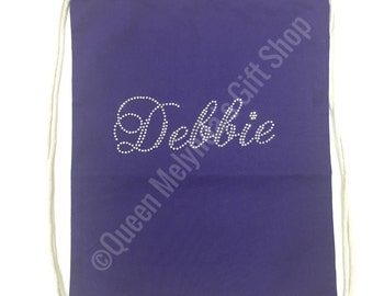 Rhinestone Name Drawstring Bag