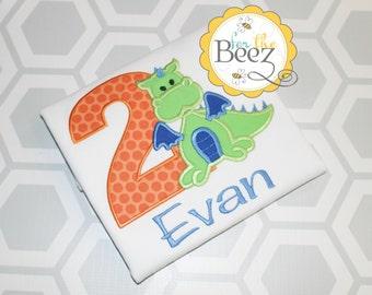 Dragon Birthday Shirt, Boys Birthday Shirt, Dragon 1st Birthday Shirt, Dragon Birthday Outfit, Personalized Birthday Shirt, Embroidered
