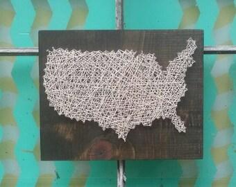 String Art United States, USA String Art Sign, Custom Made USA Sign, Gallery Wall Art, God Bless America, Unique Wall Art, America Shape Art