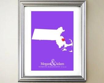 Massachusetts Custom Vertical Heart Map Art - Personalized names, wedding gift, engagement, anniversary date