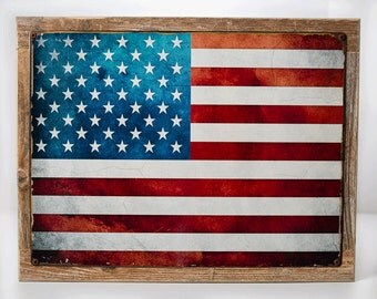 Framed United States Flag Metal Sign, Patriotism, USA,  Vintage Sign, Rustic Decor  HB7039F