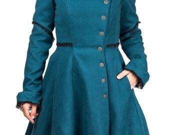 Manteau bleu canard style victorien