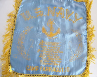 WWII Souvenir Sweetheart Pillow Cover - Vintage Souvenir Pillow Case - 1940's Navy Pillow Cover - Camp Farragut Idaho Souvenir - Navy Pillow