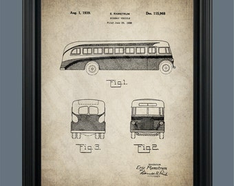 Vintage Bus Patent Print - Highway Vehicle - City Bus - Public Transportation - #110