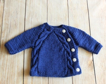 Hand knitted Baby boy sweater - Knit baby cardigan - Navy cardigan  - Baby cardigan - Baby boy clothes - Baby boy gift