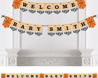Nothin' But Net - Basketball - Bunting Banner - Personalized Baby Shower or Birthday Party Decorations
