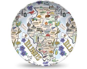 Illinois Plate, Illinois Plastic Plate, Illinois State Map Plastic Plate - High End Plastic
