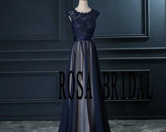 Navy blue bridesmaid dress , Cap sleeve bridesmaid dress , Long chiffon lace navy bridesmaid Custom Size color