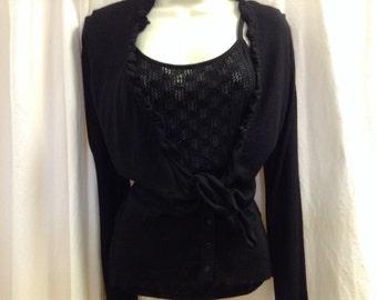 Gerard Darel Paris Vintage 100% Wool Lightweight Layered Sweater size S/M
