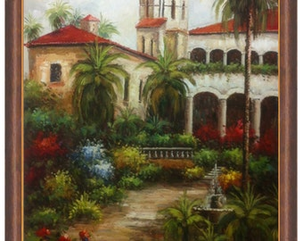 Original Hand Painted Oil Painting of Spanish Villa Home 36X48  Stretched only or 4 frame choices